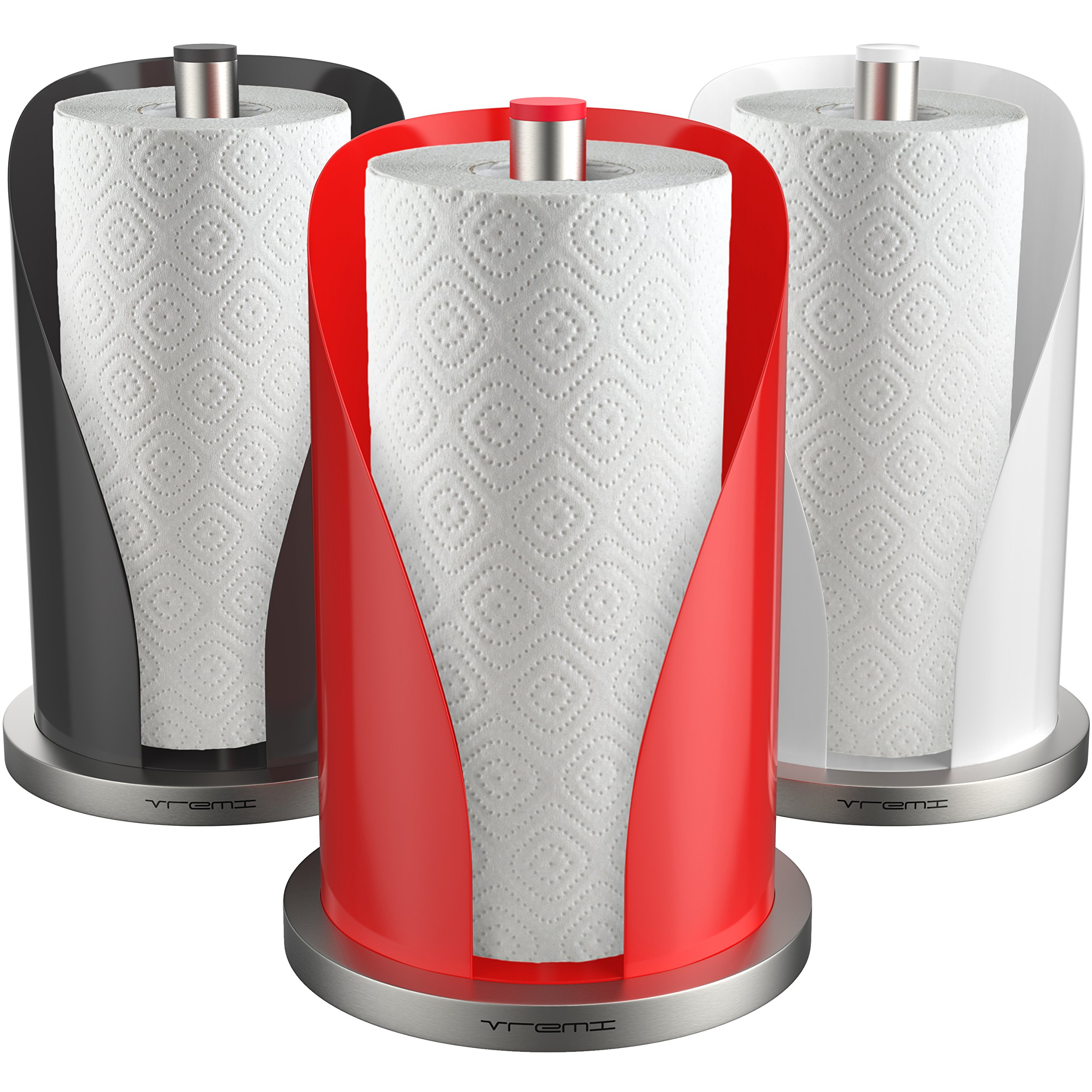 Vremi Non Slip Base and Perfect Tear Vertical Paper Towel Holder for Kitchen Countertop, Red