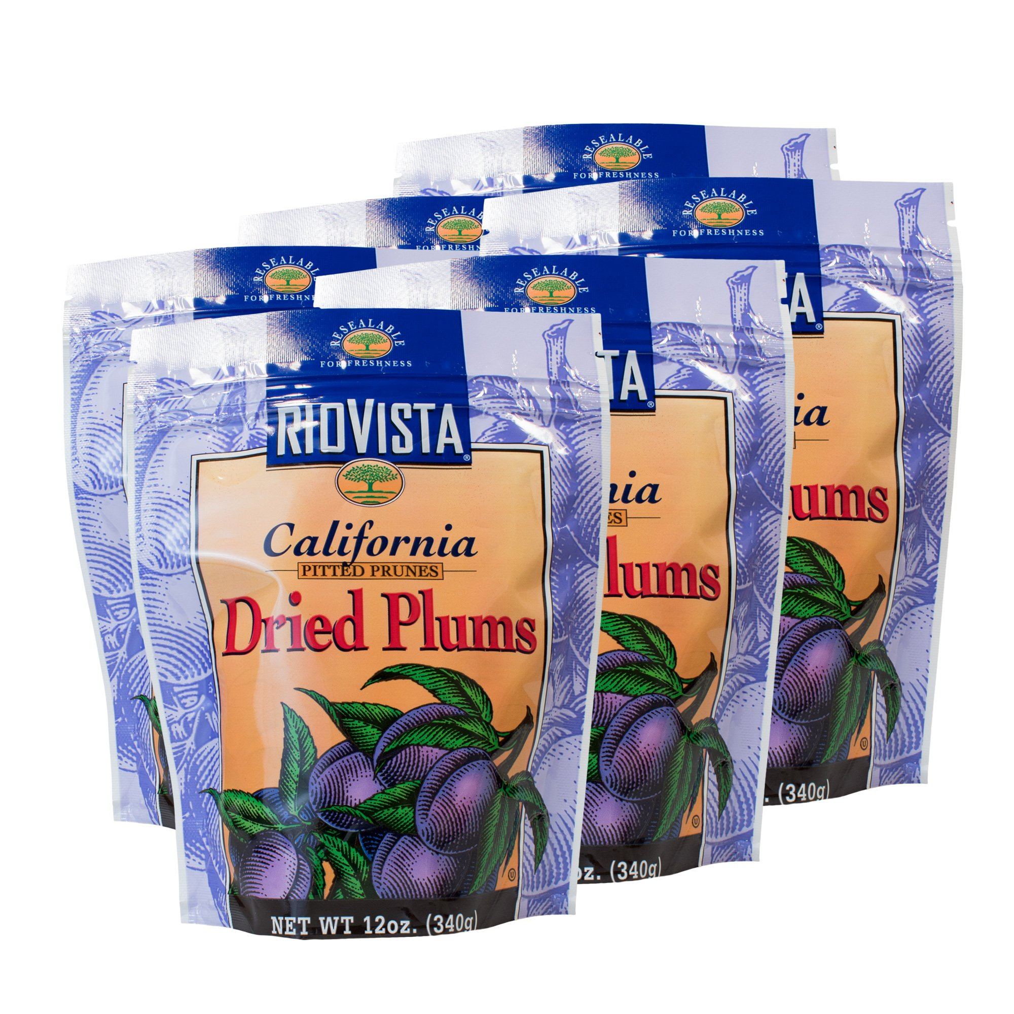 Wilbur Packing Company California Dried Plums, Pitted Prunes - 12oz. Bag (6 Pack)