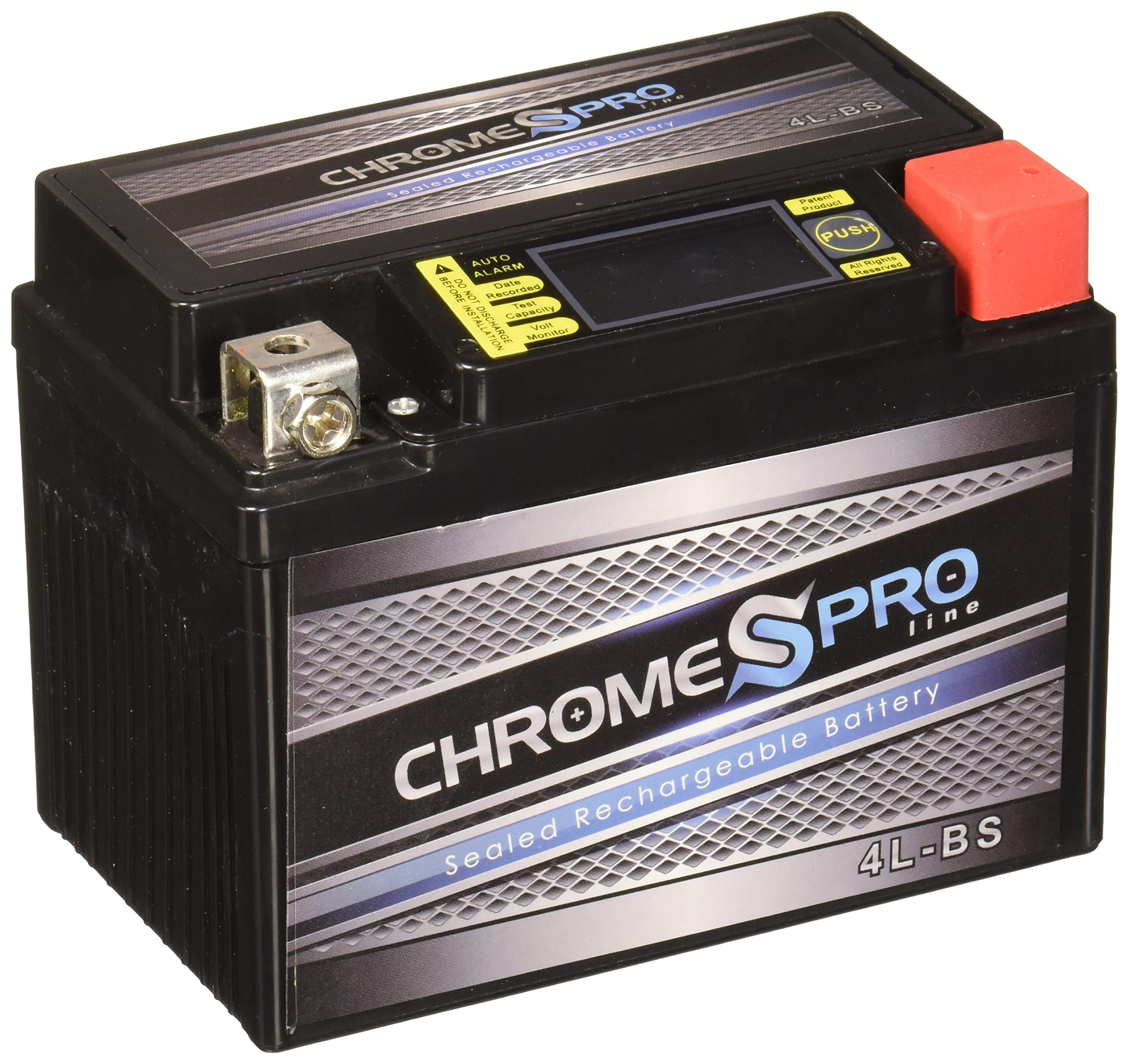 Chrome Battery Rechargeable YTX4L-BS iGel Motorcycle Battery - Heavy Duty Extreme High Performance - for SNAPPER All Walk Behind Mowers