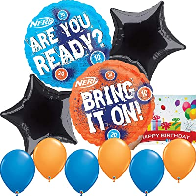 Nerf Party Supplies Birthday Balloon Decoration Bundle: Toys & Games