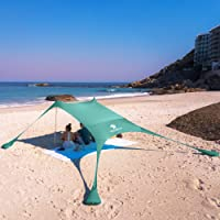 SUN NINJA Pop Up Beach Tent Sun Shelter UPF50+ with Sand Shovel, Ground Pegs,and Stability Poles, Outdoor Shade for…