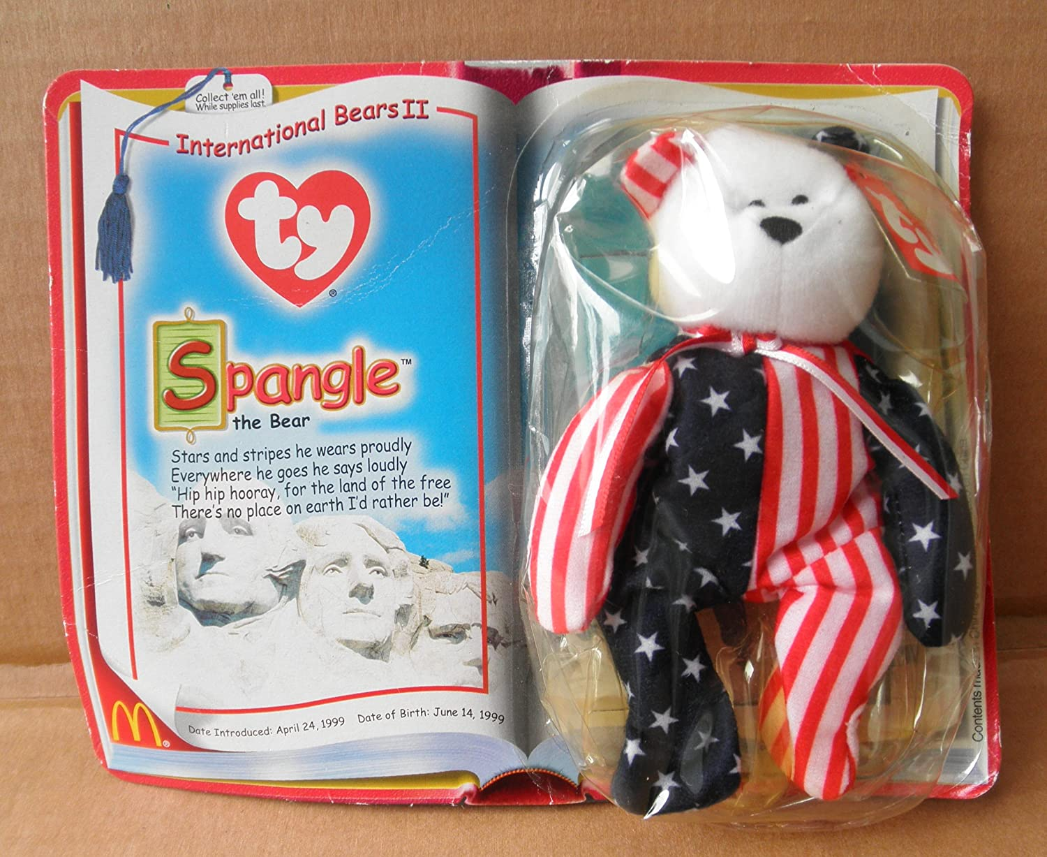 Amazon.com  McDonalds Collectible TY Beanie Babies Spangle the Bear Stuffed  Animal Plush Toy - White Red stripes and Blue and White Stars  Office  Products 571a1e6dea