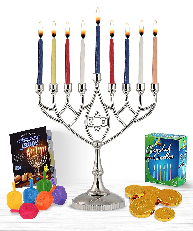 Zion Judaica Hanukkah Value Kit - Full Size Solid Menorah 45 Colored Candles 6 Colored Dreidels Sack of Milk Belgian Hanukkah Coins Gelt - All Essentials in 1 Box Zion Judaica Ltd SET-M-GEOM