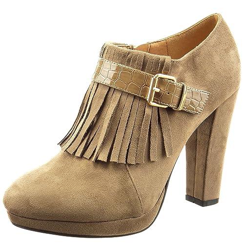 Sopily - Zapatillas de Moda Botines low boots Tobillo mujer fleco piel de serpiente Talón Tacón