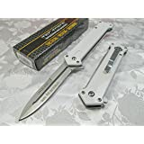 Tac Force Assisted Opening Rescue Tactical Pocket Folding Silver Spear Headed Stainless Stteel Blade Why so Serious? Knife Outdoor Survival Camping Hunting - White