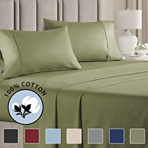 100% Cotton Full Sheets Sage Green (4pc) Silky Smooth, Cooling 400 Thread Count Long Staple Combed Cotton Full Sheet Set – 400TC High Thread Count Full Sheets - Full Bed Sheets All Cotton 100% Cotton