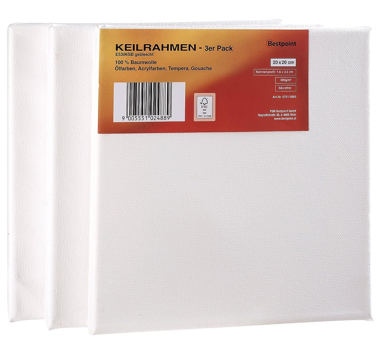 Bestpoint Keilrahmen 20x20 cm 3er-Set 380g/m² bespannt - Leinwand ...