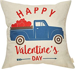 Fjfz Farmhouse Style Happy Valentine's Day Vintage Blue Truck with Red Hearts Rustic Sign Cotton Linen Home Decorative Throw Pillow Case Cushion Cover with Words for Lover Couple Sofa Couch, 18