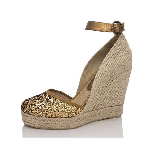 MTBALI - Sandalia Alpargata con cuña, Mujer - Modelo Altea Or: Amazon.es: Zapatos y complementos