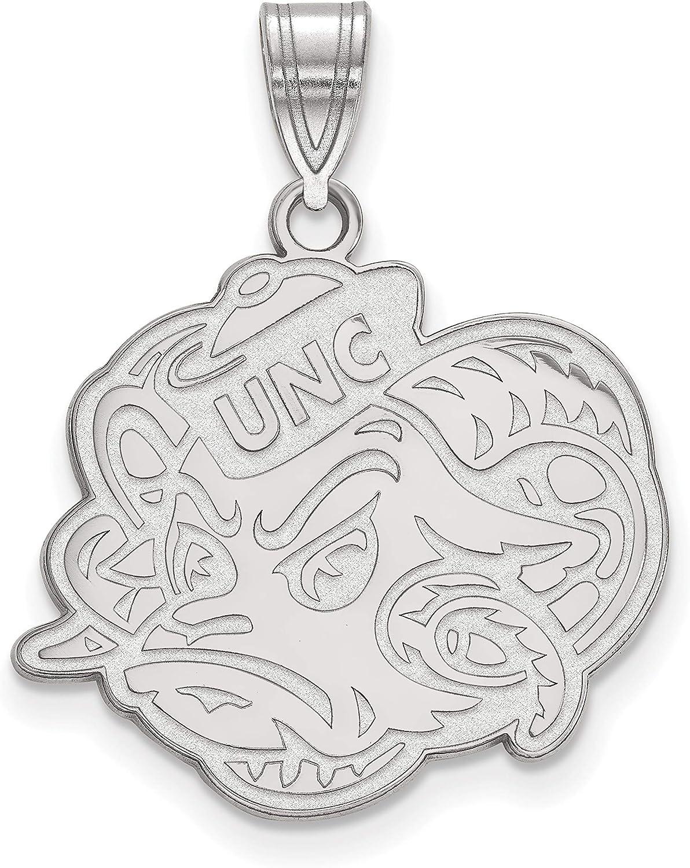 Dayna Designs University of North Carolina Pendant Necklace Enamel Tar Heels NC Logo Sterling Silver Jewelry Small for Women//Girls