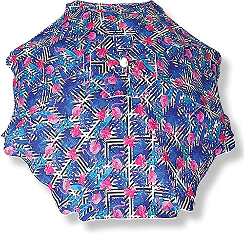 Surf Gear UVA/UVB Blocking 6.5 Foot Flamingo Beach Umbrella w/Matching Carry Bag