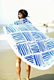 Bonita Beach Collection Round 'Roundie' Beach Towel Thick Terry Cotton with Fringe Tassels - Various Designs & Colors (The Hamptons Cabana (Blue Stripe))