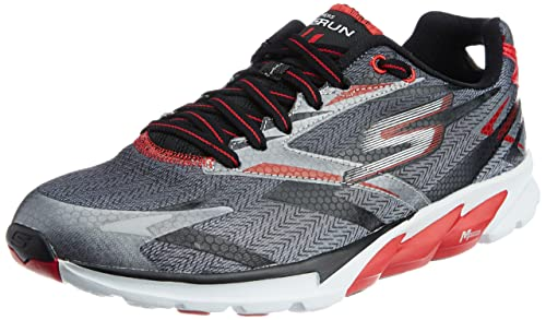 Skechers Mens GO Run 4, Red/Black, 7.5 D