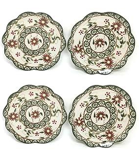 Temptations Set Of 3 Hand Painted Brown Stoneware Salad/dessert Plate By Tara Home & Garden Bakeware