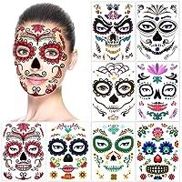 Halloween Tatouages Temporaires pour visage (8 Feuilles), Howaf Crâne mort Floral Squelette Noir Tatouages éphémères Pour homme femme adulte Enfants Halloween Déguisement Costume Maquillage