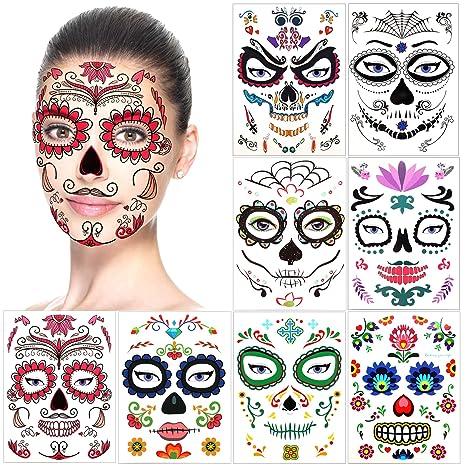 Halloween Tatouages Temporaires pour visage (8 Feuilles), Howaf Crâne mort  Floral Squelette Noir Tatouages éphémères Pour homme femme adulte Enfants