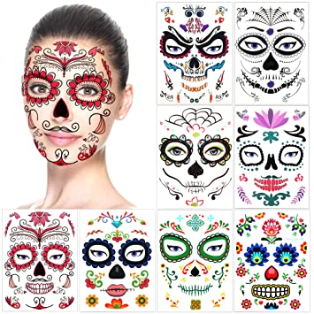 Amazon.com : Halloween Temporary Face Tattoos (8Pack), Konsait Day ...