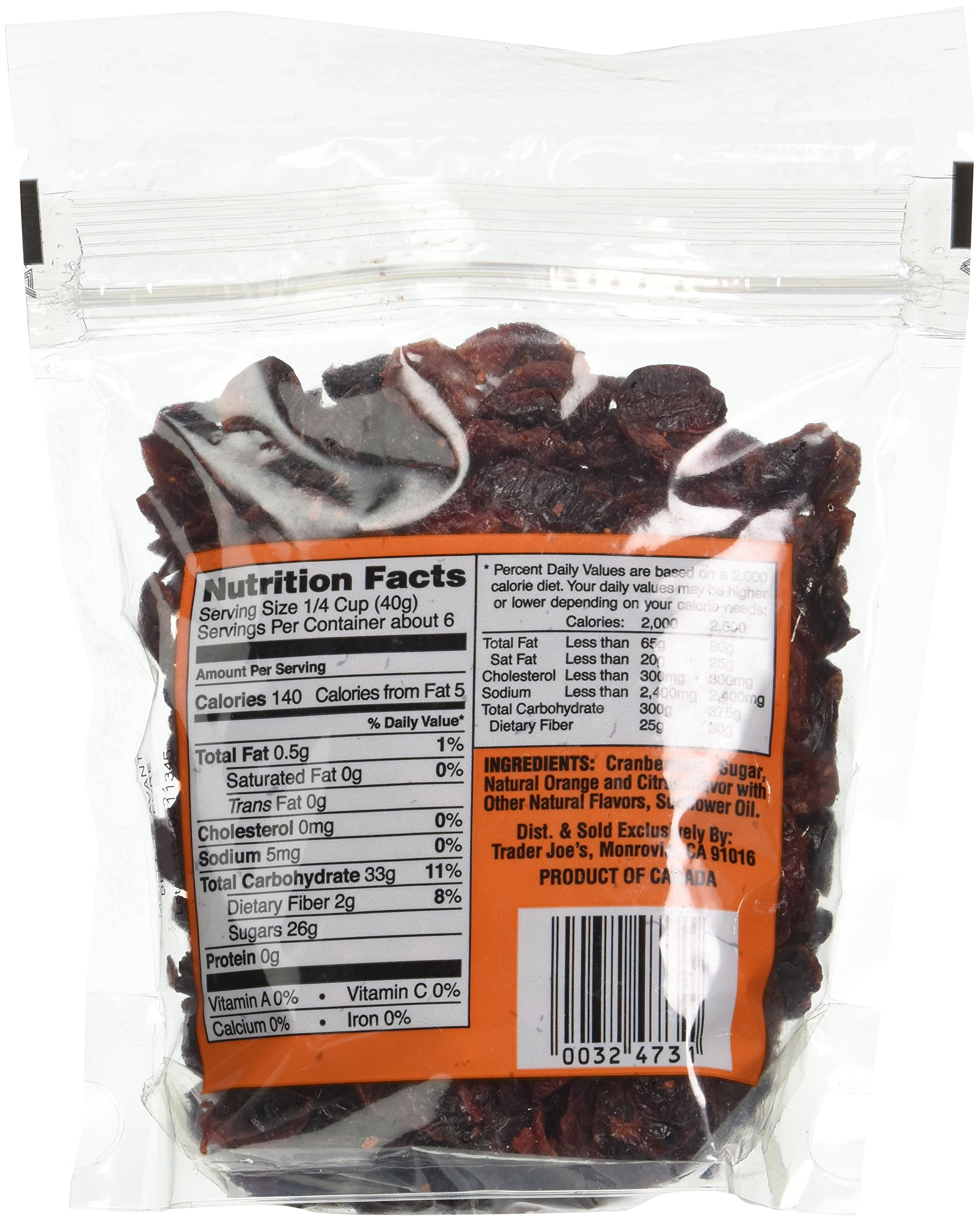 Trader Joe's Dried Fruit: Orange Flavored Cranberries, 8 ounce bags, Set of 4 by Trader Joe (Image #3)
