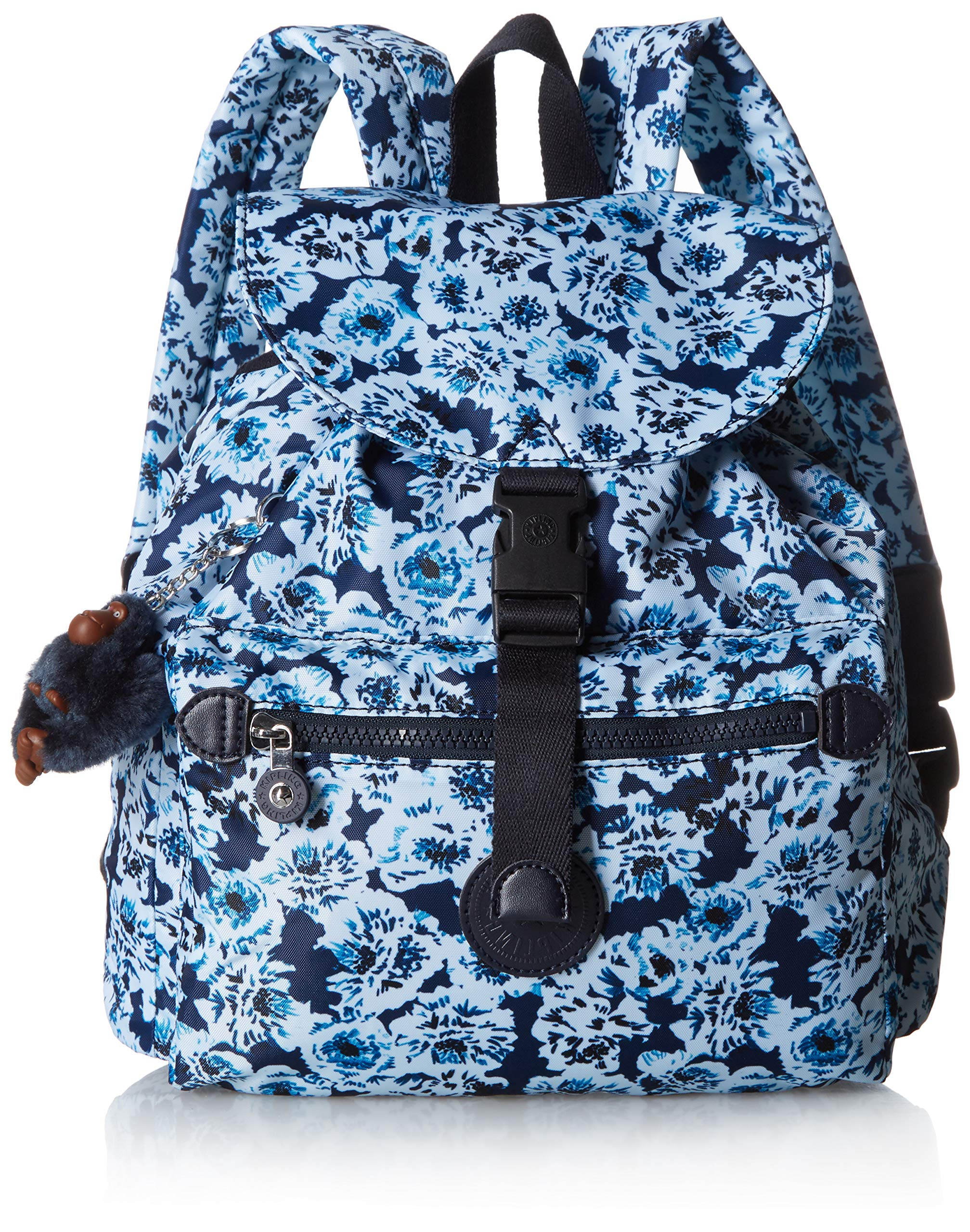 Kipling Keeper Small, Padded, Adjustable Backpack Straps, Drawstring Closure, roaming roses