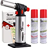 Kitchen Torch With Butane included - Refillable Butane Torch With Safety Lock & Adjustable Flame + Fuel gauge - Culinary…