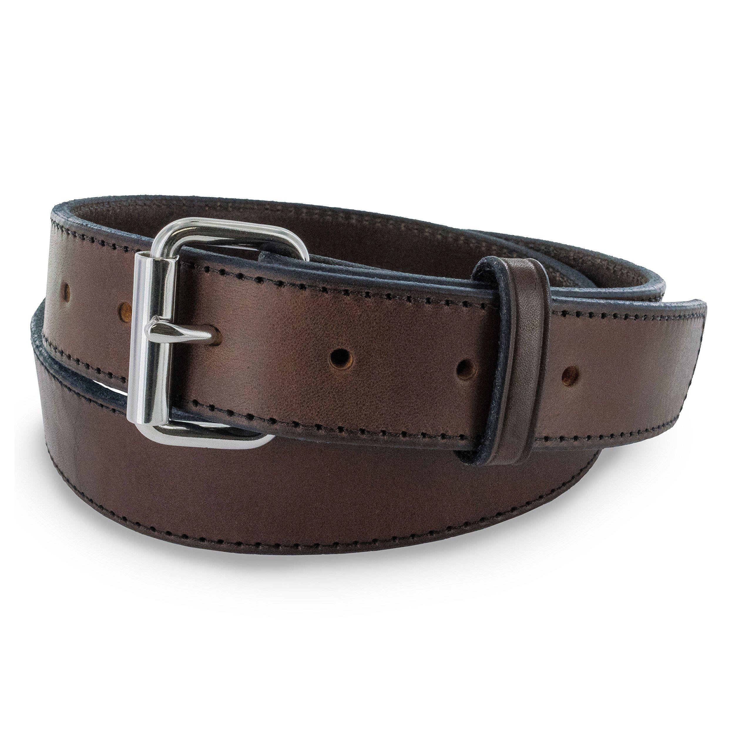 Hanks Stitch Gunner Belts - 1.5'' Best Vaue in A Concealed Carry Belt - USA Made 13OZ Leather - 100 Year Warranty - BRN - 38 by Hanks Belts