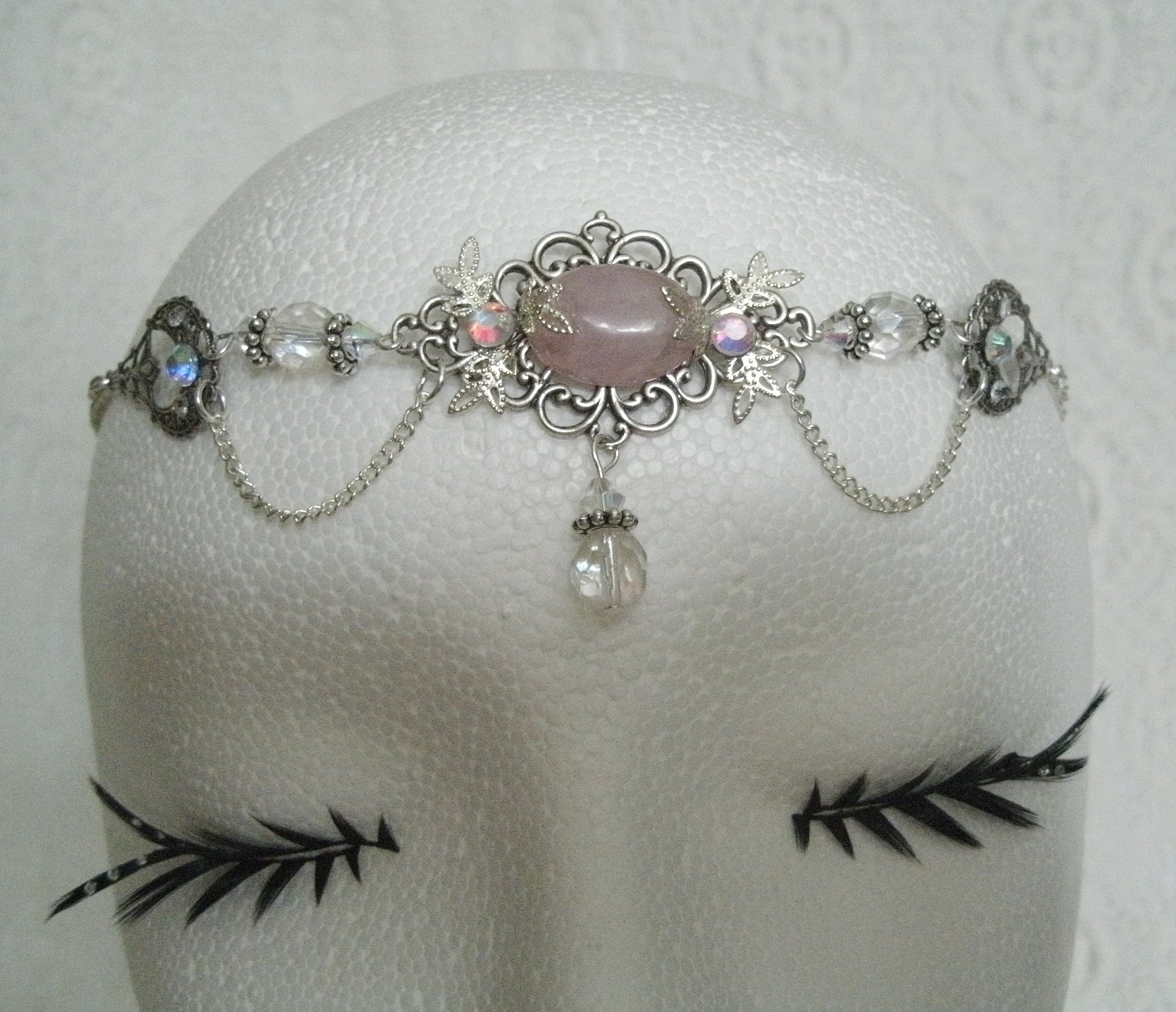 Rose Quartz Circlet, handmade jewelry wiccan pagan goddess wicca witch witchcraft headpiece renaissance medieval victorian