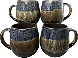 Reactive Glaze Coffee Mugs | Set of 4 (Brown) | 20oz Ceramic Barrel Mugs | Microwave & Dishwasher Safe