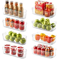 Set Of 8 Refrigerator Organizer Bins - 4 Large and 4 Small Stackable Fridge Organizers for Freezer, Kitchen, Countertops…