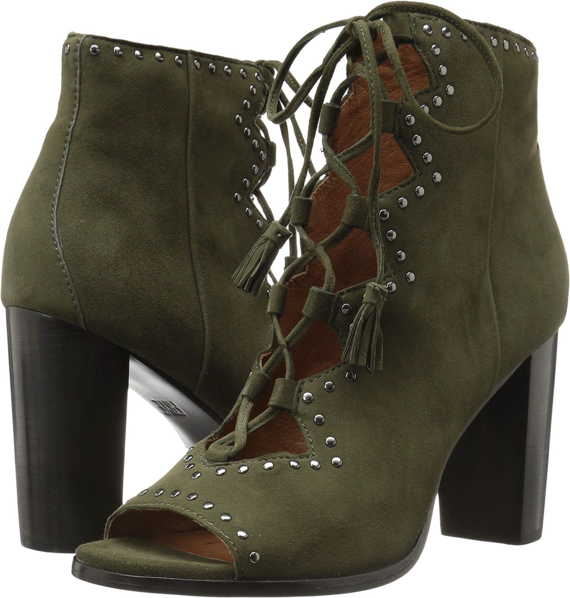 FRYE Women's Gabby Ghillie Stud Boot, Forest Suede, 6.5 M US