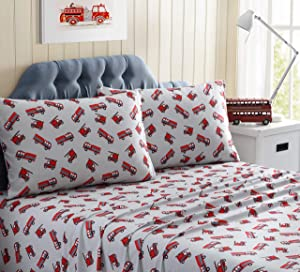 Kute Kids Super Soft Sheet Set - Fire Trucks - Brushed Microfiber for Extra Comfort, Soft, Cozy, Warm in The Winter, Cool in The Summer Sheet Set for Toddlers (Full)