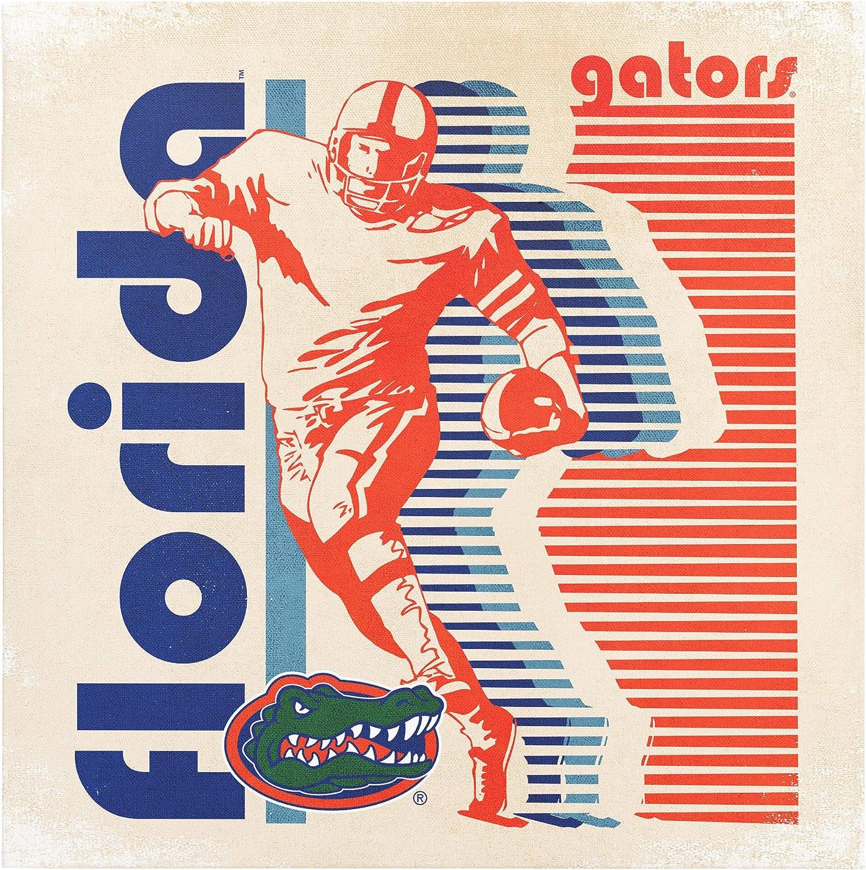 Image One NCAA Florida Atlantic Owls 9x9 Canvas Wall Art Retro Football Player Stripes