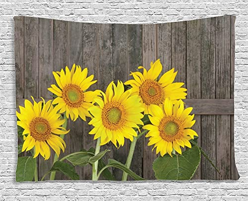 Sunflower Decor Tapestry, Helianthus Sunflowers Against Weathered Aged Fence Summer Garden Photo Print, Wall Hanging for Bedroom Living Room Dorm, 80 W X 60 L, Brown Yellow and Green