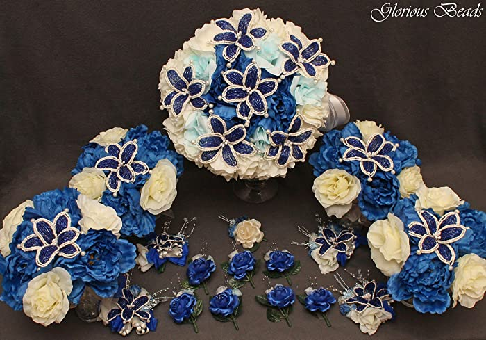 Amazon.com: Royal Blue and Ivory Beaded Lily Bridal Wedding Flower ...