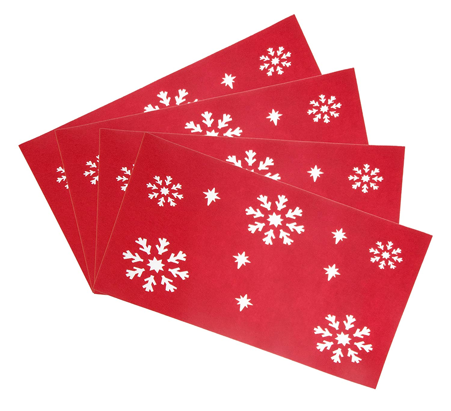 """Red Felt Snowflake Design Christmas Placemat 