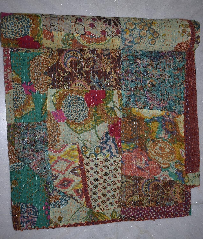 新しいパッチWork KanthaキルトハンドメイドブランケットベッドスプレッドパッチKantha寝具Throw Gaudri Bedcover 90 X 108 Inches MPN B079BW3YDP Brown Floral Patchwork 90 X 108 Inches