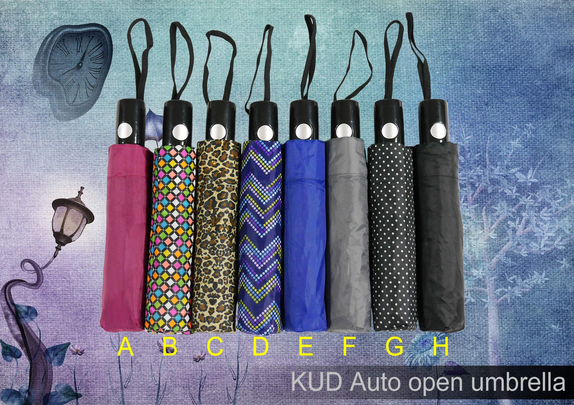 KUD 42 inch Compact Lightweight Auto-open umbrella (Multicolored D) by Keep You Dry (Image #6)