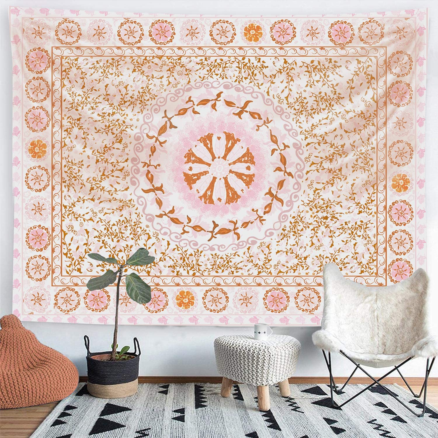 Funeon Mandala Floral Tapestry Wall Hanging Small Orange Pink Flower Tapestry Boho Medallion Tapestry for Teen Girls Indie Room Dorm Wall Decor Aesthetic Cute College Tapestry Vertical 51x60 inches