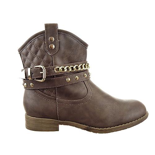 Sopily - Zapatillas de Moda Botines Western Santiags - Cowboy - Vaquero Low boots Tobillo mujer zapato acolchado Cadena ...