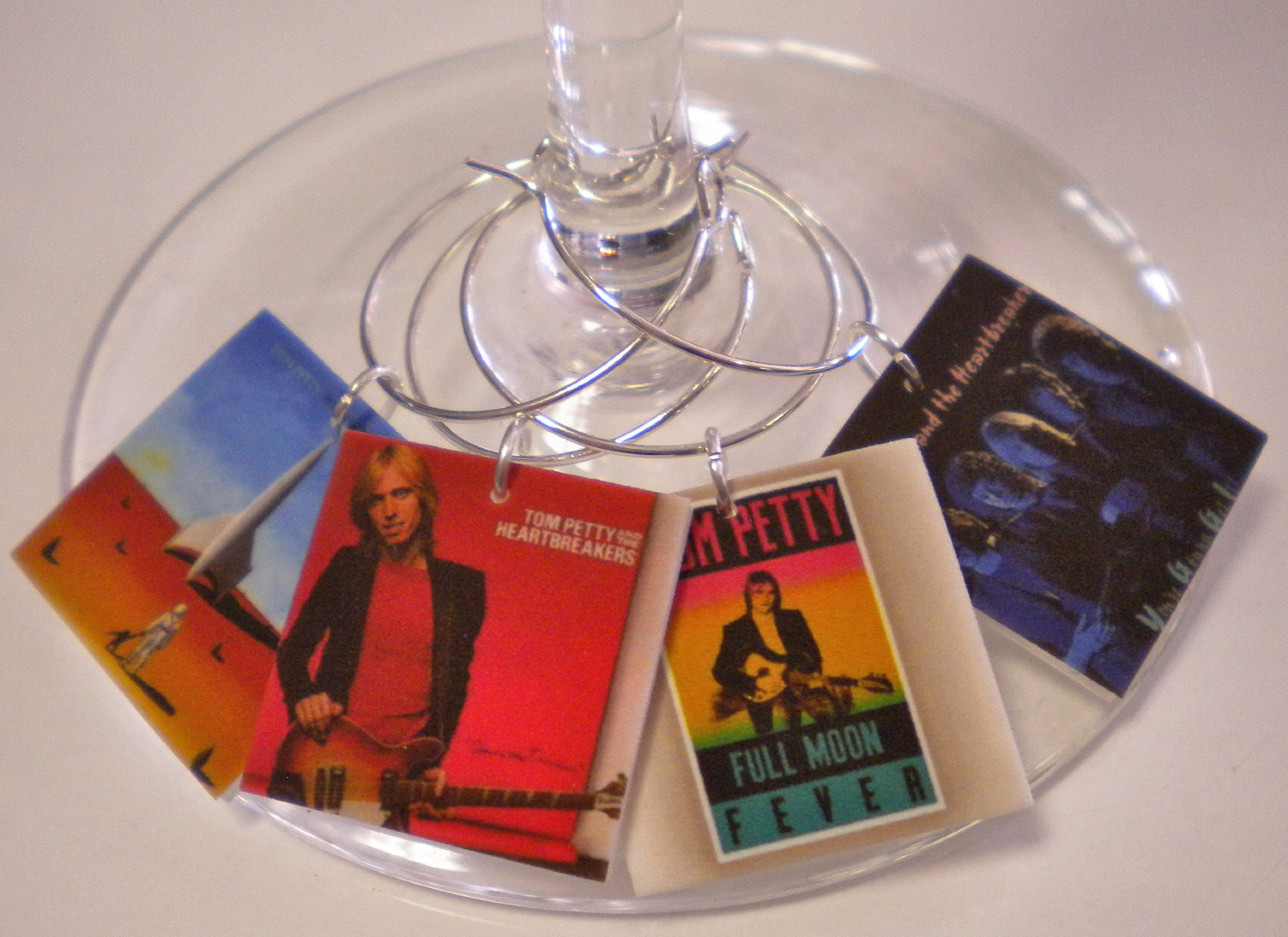FortySevenGems Set of 6 Tom Petty Album Cover Collection Wine Charms Mailed in a Pretty Organza Gift Bag