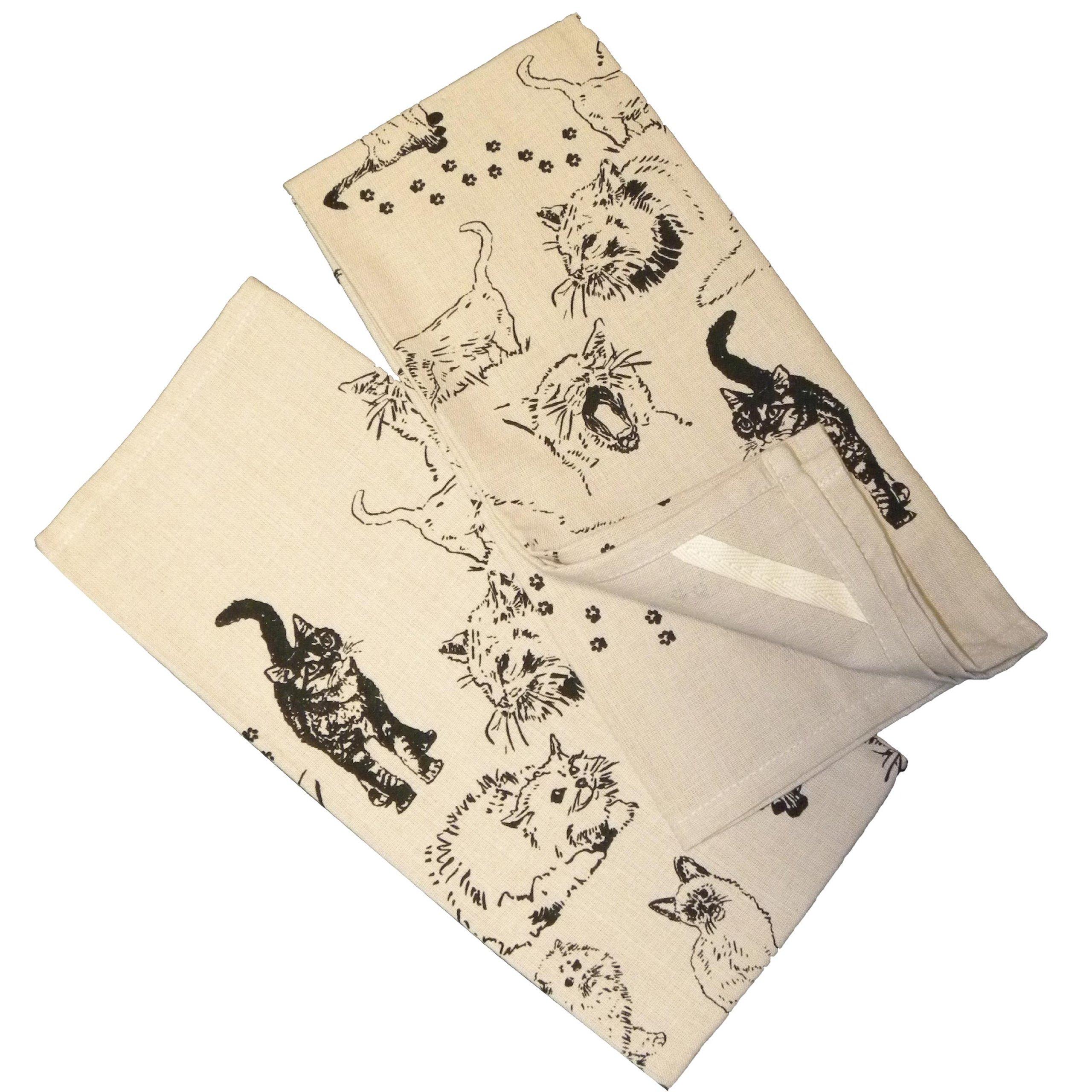 Krazy Kats Cats Kitchen Towels, Set of 2 Natural