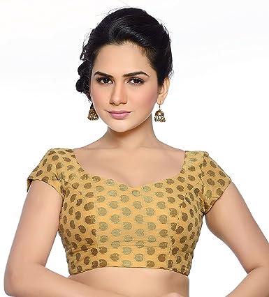 Studio Shringaar Wedding Splendid Gold Solid Short Sleeve Padded Blouse Saree Blouses at amazon