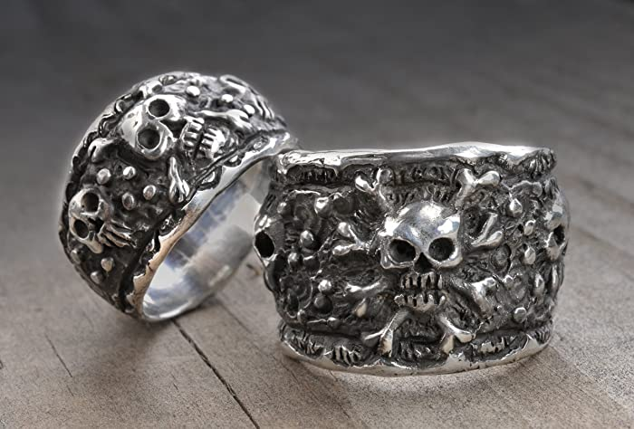 skull wedding ring setskull wedding bandspirate wedding ringssilver skull ring - Skull Wedding Rings