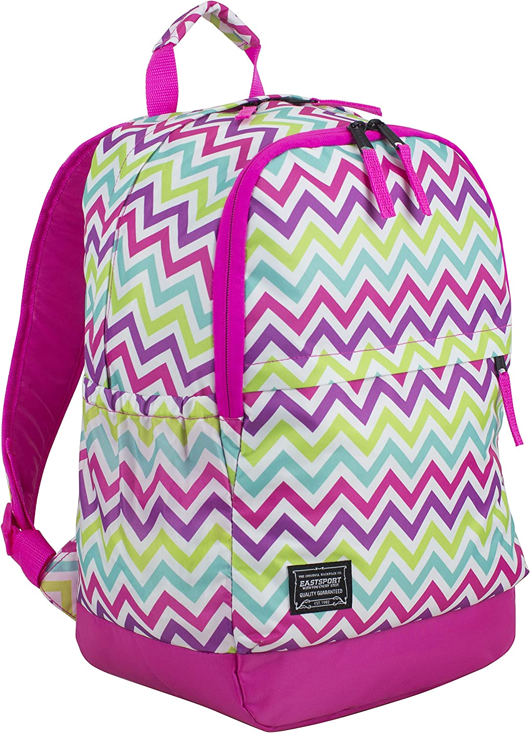 Hot Pink//Spike Chevron Print 118730PW-SPC Eastsport Everyday Classic Backpack with Interior Tech Sleeve