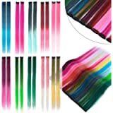 S-noilite 20 Inch 10Pcs Colored Hair Extensions Colorful Clip in Hair Extensions Multi-color Highlights Heat-Resistant…