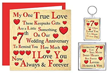 Our 7th Wedding Anniversary Gift Set - Card, Keyring & Fridge Magnet ...