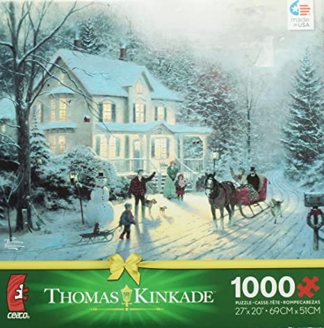 Thomas Kinkade Christmas.Amazon Com Thomas Kinkade Christmas Puzzle Home For The