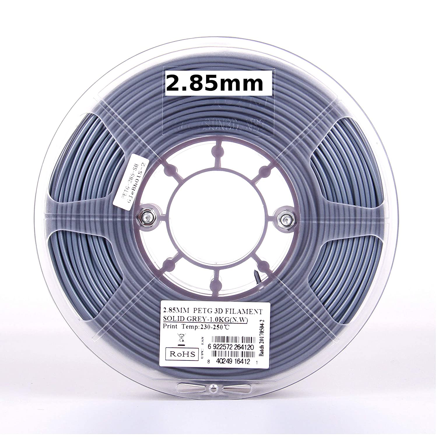 PETG 3D Printer Filament 2.2lb eSUN 3D 3mm PETG Solid Gray Filament 1kg Actual Diameter 2.85mm +//- 0.05mm Solid Opaque Gray IG-C-PETG300SH1