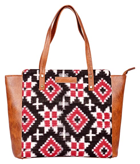 d62a9831b8 Kalamargam Collective Handwoven Cotton Double Ikat Telia Rumal   Vegan  Leather Women s Tote Bag (Multi-Coloured