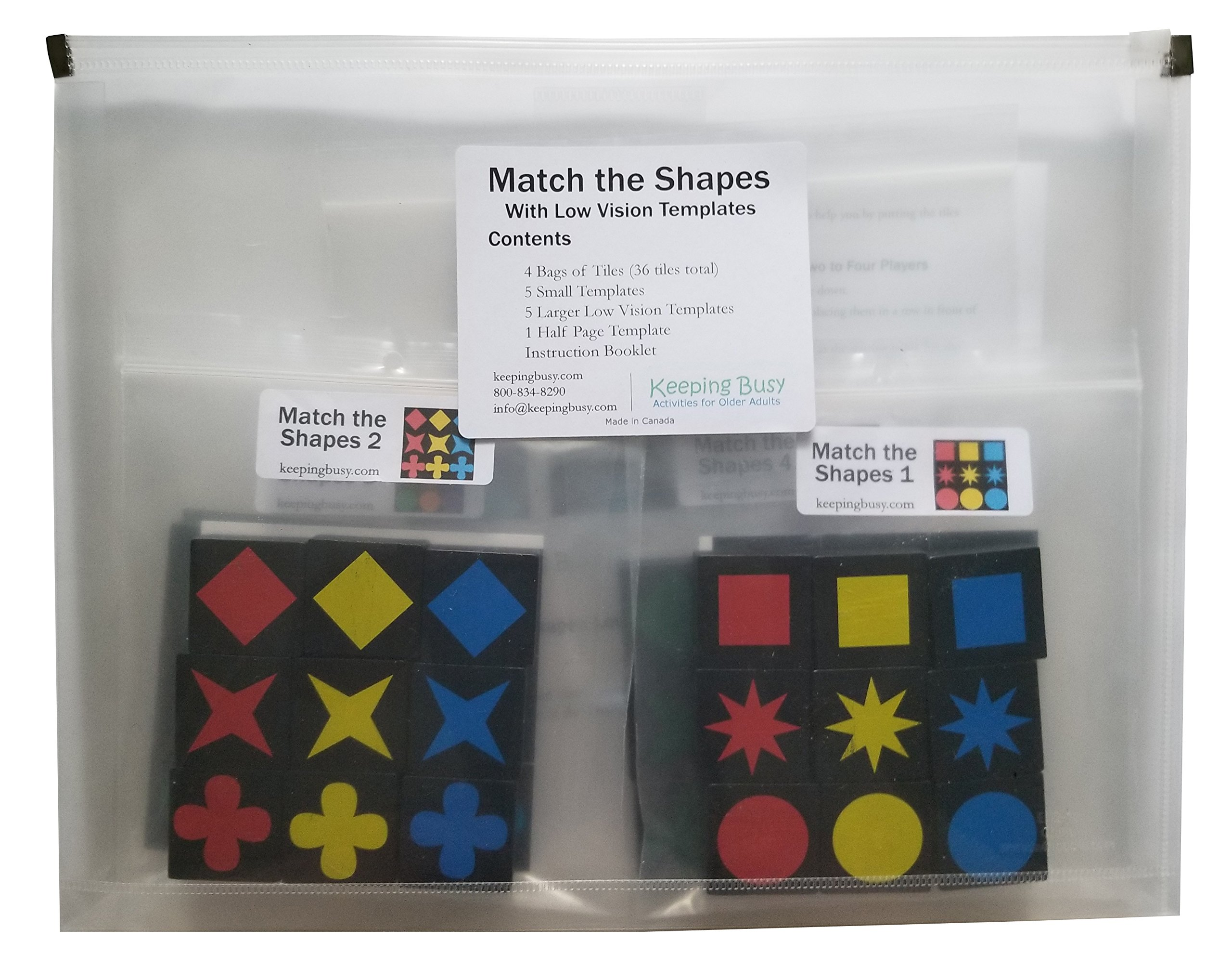 Keeping Busy Match the Shapes Low Vision Edition Dementia and Alzheimer's Engaging Activity for Older Adults