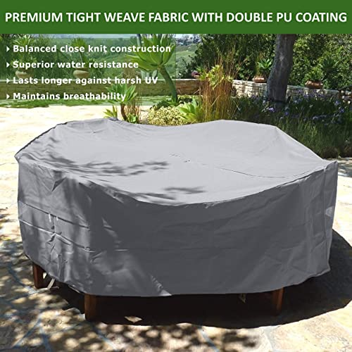 Premium Tight Weave Fabric Patio Set Covers 96 Dia. Fits Square, Oval and Round Table Set, Center Hole for Umbrella in Grey